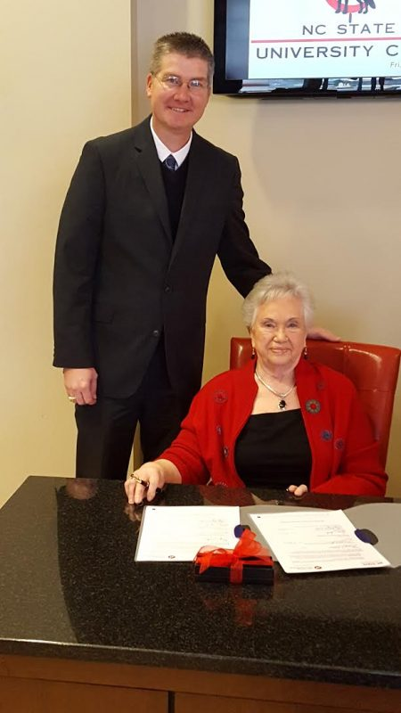 Dr. Garey Fox with Mae Mae Dolan at the signing of the Jean and Mort Powell, Jr. Scholarship. Read more on her story here.