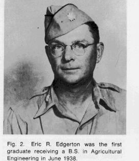 Photo: Head shot of Eric Edgerton who was the first graduate to receive a BS in Agriculture Engineering in 1938