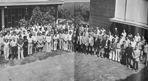 Photo: Group photo of people at BAE in 1977 Shows faculty staff and graduate students.