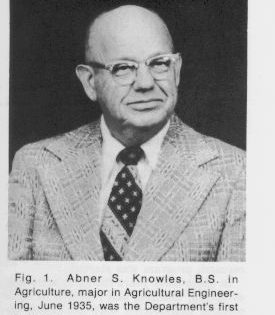 Photo: head shot of Abner S. Knowles who earned a BS in Agriculture with a major in engineering in 1935. He was the departments first graduate.