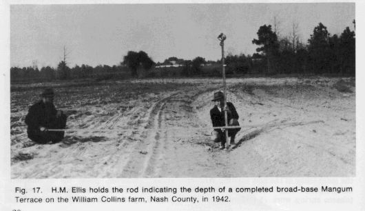Photo Ellis hold a rod indicating the depth of a completed broad-based Mangum Terrace on the farm in Nash County in 1942.