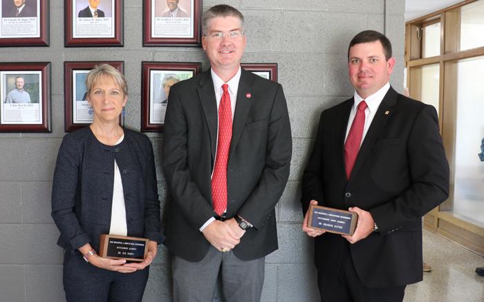 Sue Nokes, Garey Fox and Brandon Batten at the alumni ceremony.